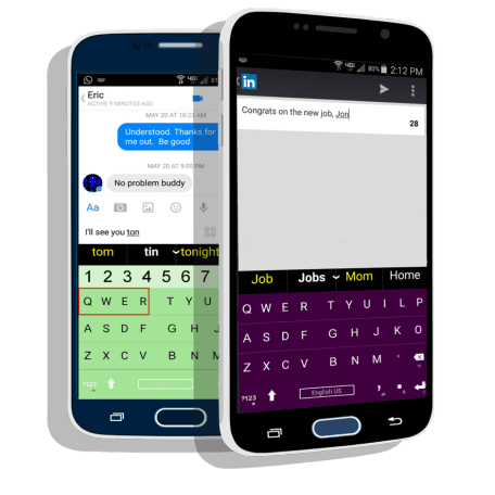 SnapKeys' smartphone keyboard